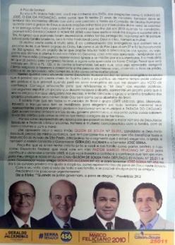 Panfleto distribuído via correio pelo candidato Marco Feliciano (PSC) associa imagem de Alckmin e Serra (PSDB) a mensagens homofóbicas; Alckmin aprovou lei anti homofobia em SP em 2001